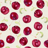 Fruit seamless pattern - cherry berries. Watercolor Royalty Free Stock Photography