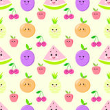 Fruit seamless pattern for children vector pineapple, cherry Royalty Free Stock Images