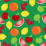 Fruit seamless pattern. On a green background Stock Photo