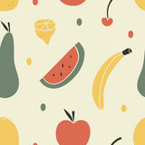 Fruit Seamless Pattern. A hand drawn seamless fruit pattern with a cream background Royalty Free Stock Images