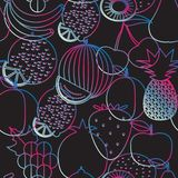 Fruit seamless pattern. The image of fruits and berries Stock Image