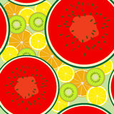 Fruit seamless. Seamless pattern of juicy fruit slices scattered on a light green background Royalty Free Stock Photos