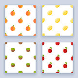 Fruit seamless pattern set icons  flat design line art isolated vector illustration Royalty Free Stock Image