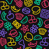Fruit seamless pattern in thin line style Stock Image