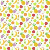 Fruit seamless pattern, vector background with Stock Photo