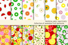 Fruit seamless patterns - swatches. Royalty Free Stock Photo