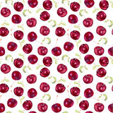 Fruit seamless wallpaper - cherry berries. Watercolour Stock Photo