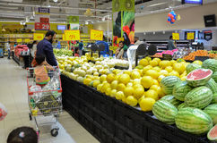Fruit Section at Hyperstar Supermarket. Fruits for sale at Hyperstar Supermarket, Emporium Mall, Lahore Pakistan Royalty Free Stock Photography