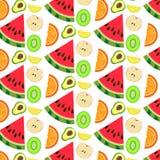 Fruit section pattern segment. Lemon and kiwi  and watermelon Stock Photo