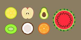 Fruit section vector. Fruit in section and half lemon, kiwi, apple, orange, coconut, avocado, watermelon Stock Photo
