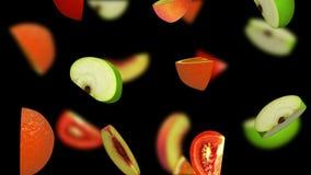 Fruit segments falling on black background, 3d illustration Stock Images