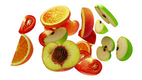 Fruit segments on white background, 3d illustration Royalty Free Stock Photos