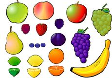 Fruit selection. Multiple isolated fruits on background Royalty Free Stock Photos