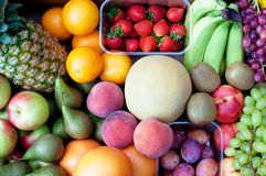 Fruit selection. Full framed image showing wide and colourful fruit selection Royalty Free Stock Photos