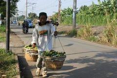 Fruit Seller. Jakarta, Indonesia, 25 February 2012 - A fruit seller in suburban of Jakarta royalty free stock images