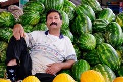 Fruit Seller in Agadir Market, Morocco Stock Photo