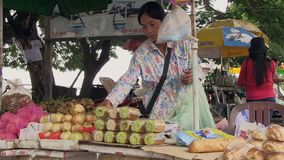 Fruit seller , cambodia stock footage