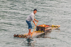 Fruit seller on his raft Stock Images