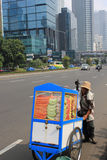 Fruit Seller in Main Road of Jakarta Royalty Free Stock Photos