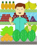 Fruit Seller with Many Kind of Fruits Cartoon Royalty Free Stock Photo