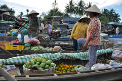 Fruit seller in the Mekong delta, Vietnam Stock Images