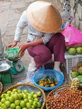Fruit Seller in Vietnam. A fruit seller weighing a bag of longans Stock Image