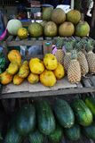 Fruit selling retail street stall, asian style. Fruit selling street stall retail, asian style grocery stock images