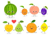 Fruit set N1. Set of different cute happy fruit characters. Vector flat illustration isolated on white background stock illustration