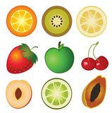 Fruit set. A  illustration of fresh fruit set Stock Photography