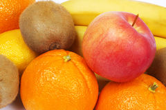 Fruit set. Background of fresh fruits and vegetables Stock Images