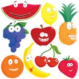 Fruit set. 9 fruit with funny face set Royalty Free Stock Photo