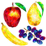 Fruit set of abstract triangles on a white background Stock Photos