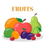Fruit set. Apple, orange, banana and cherry royalty free illustration