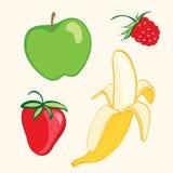 Fruit set. Banana, strawberry, apple Royalty Free Stock Images