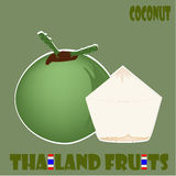 Fruit Set : Coconut From Thailand. Various fruits from Thailand with thai flag Stock Image
