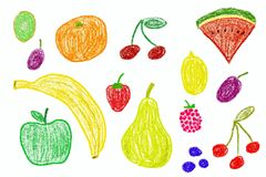 Fruit set. Crayon drawing simple style child Stock Photo