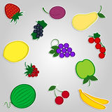 Fruit. This is a set of drawings of fruit. Vector Illustration Royalty Free Stock Photos