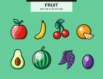 Fruit set in flat style with a stroke Stock Photography