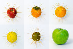 Fruit set. Glossy fruit set isolated on white background Stock Images