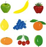 Fruit set. Green apple, yellow banana, red strawberry, yellow lemon, blue grapes, orange, tangerine, cherry, on a white background Royalty Free Stock Photography