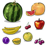 Fruit set of hand-drawn Royalty Free Stock Images