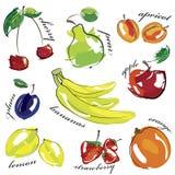 Fruit set icons isolated on white Stock Image