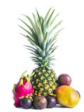 Fruit set isolated. Fruit set of pineapple, dragon fruit, mango and mangosteens isolated Royalty Free Stock Photo