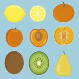 Fruit set from lemon, apricot, mandarin, kiwi and pear. Big fruit set from lemon, apricot, mandarin, kiwi and pear Stock Images