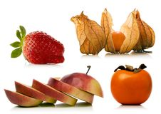 Fruit set over white background Stock Image