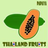 Fruit set : Papaya from Thailand. Papaya can be eaten both at young stage (green) and ripe (orange Stock Photos
