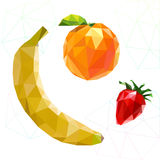 Fruit set of polygons . Banana, orange, strawberry. Vector Royalty Free Stock Photography