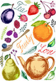 Fruit set for tea preparation, Decorative natural vector, A teapot with a spoon and fruit, isolated fruit Stock Photo