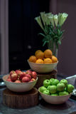 Fruit set and vase decoration in party. Stock Photo
