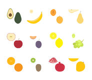 Fruit set vector. Fresh fruits and their slices vector illustration Stock Images